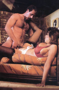 Christy Canyon Sex In Stockings On Bamboo Sofa